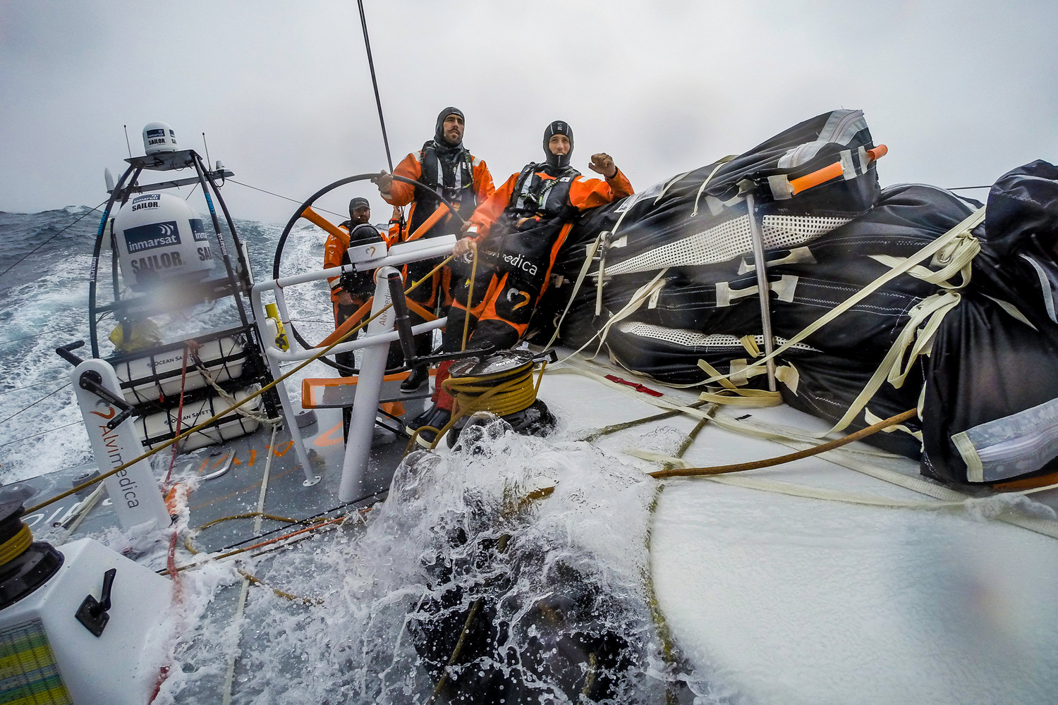 A 6 a.m. jibe east and an early build in windspeed keep Team Alvimedica on their toes with a week of hard sailing left until Cape Town.