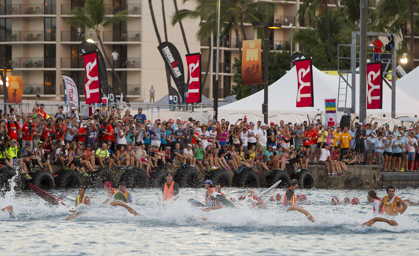 Swimmers are seen at the start of the 2014 IRONMAN World Championship.