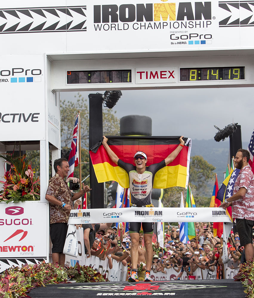 Sebastian Kienle wins the men's 2014 IRONMAN World Championship title.
