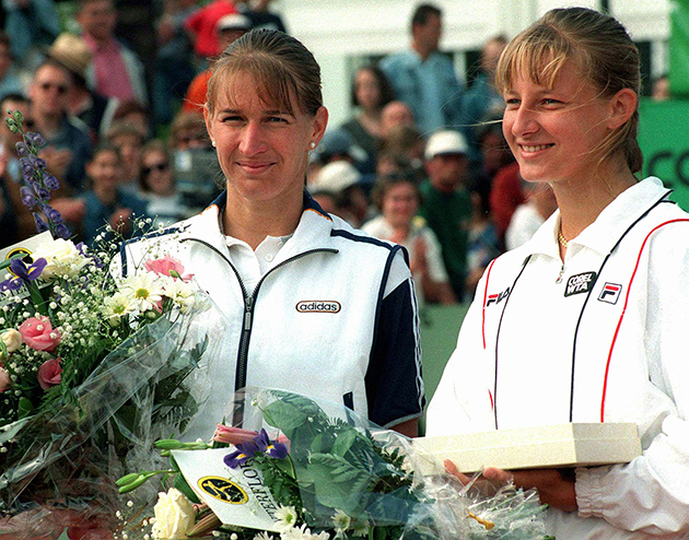 Steffi Graf, left, poses with Mirjana Lucic of Croatia in 1997.