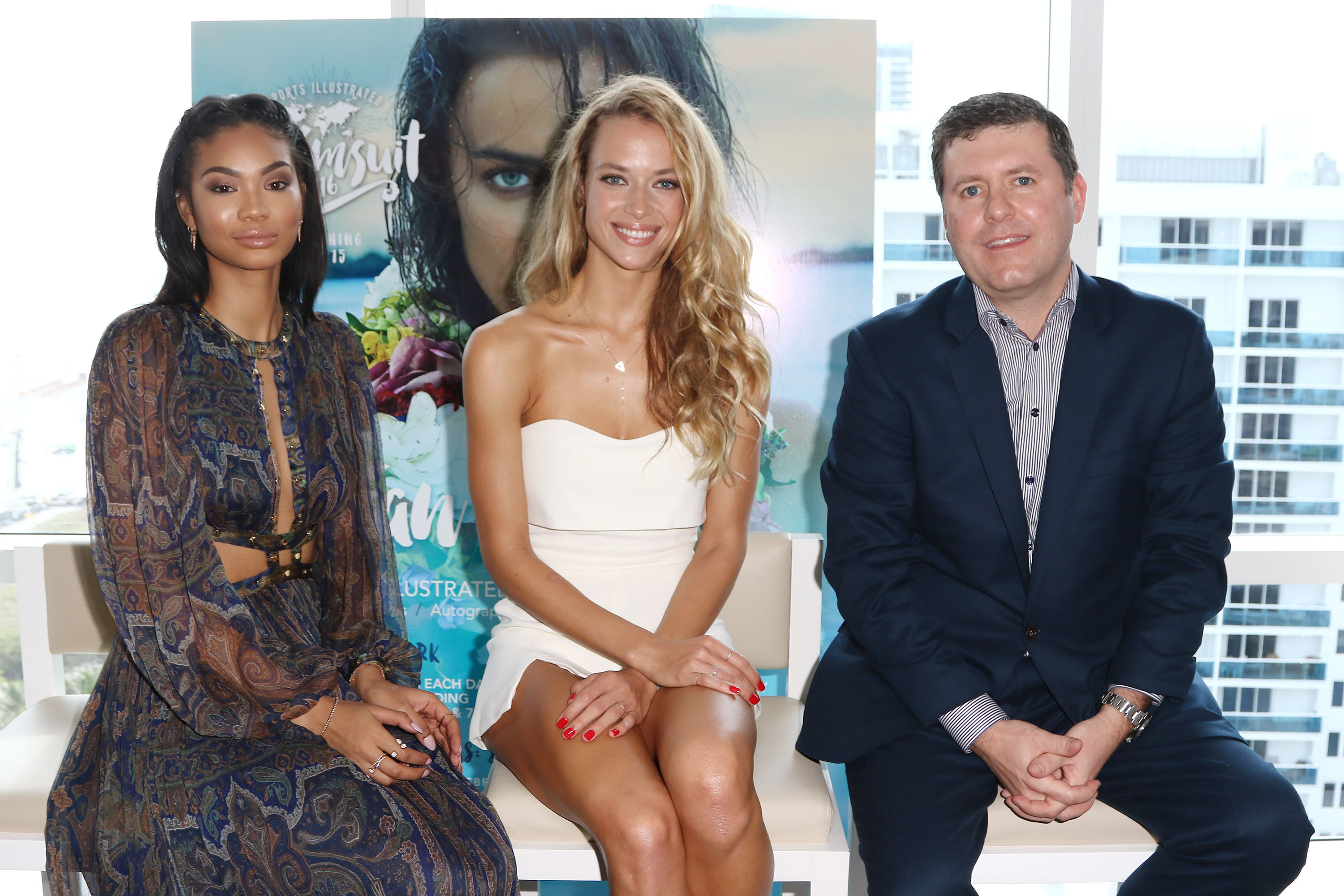 Sports Illustrated Swimsuit Models Hannah Ferguson and Chanel Iman, with SI's Publisher Brendan Ripp, reveal SI Swimsuit 2016 launch week events in Miami at 1 Hotel & Homes South Beach
