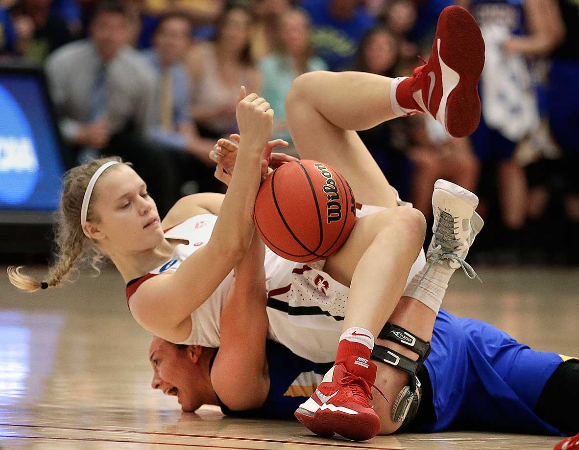 Stanford's Brittany McPhee, top, and South Dakota State's Gabrielle Boever fight for the ball.