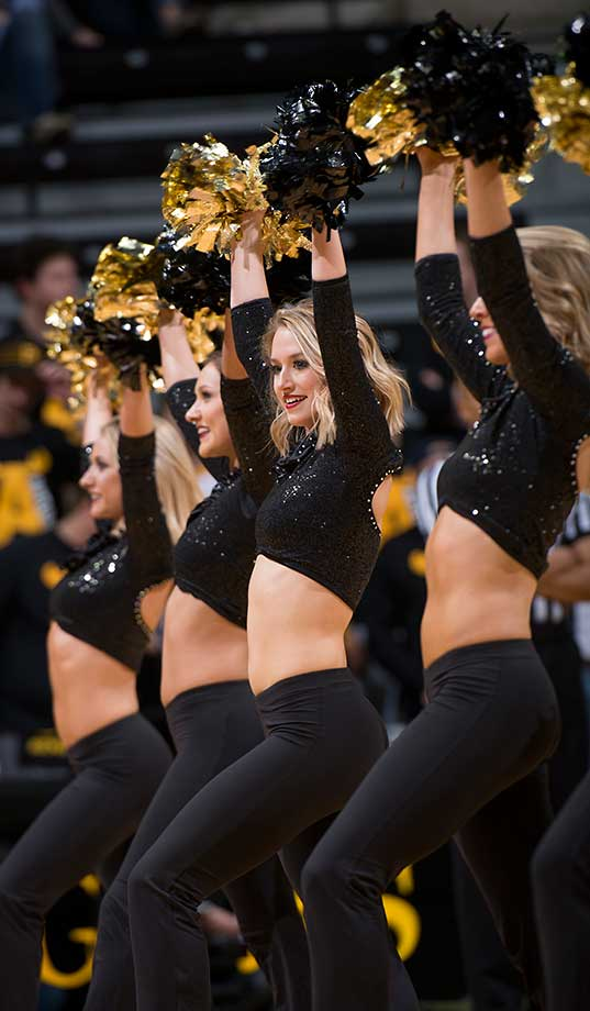 The Missouri Golden Girls perform during a timeout against Florida.