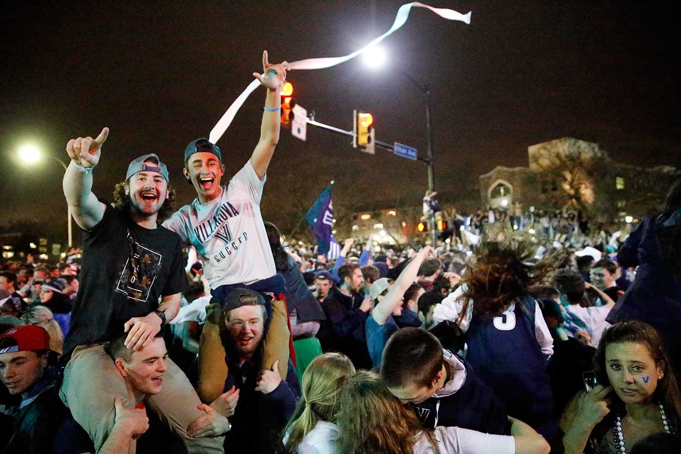 Fans celebrate in Villanova, Pa., after the Wildcats defeated North Carolina.