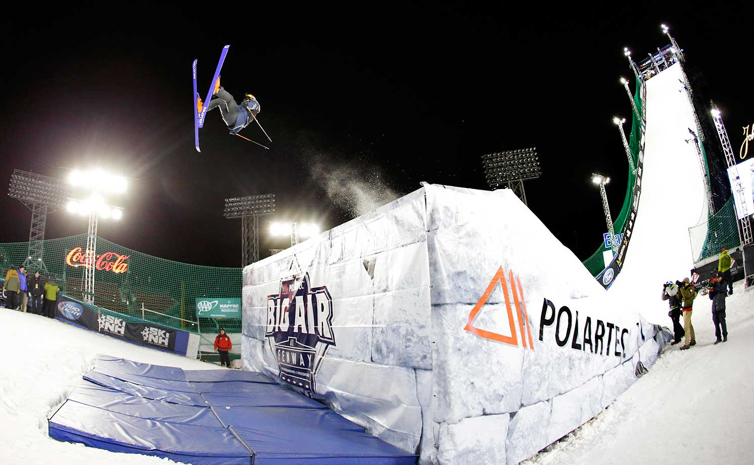 Oscar Westor of Swede, jumps during the Big Air at Fenway Park skiing and snowboarding event in Boston.