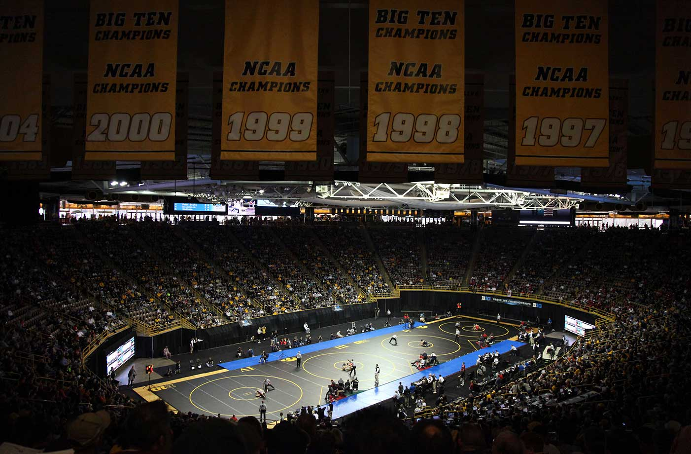 A scenic shot of the Big Ten Wrestling Championships at Carver-Hawkeye Arena in Iowa City, Iowa.