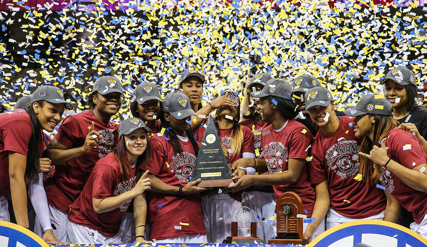 South Carolina players with the SEC Tournament trophy after defeating Mississippi State in the championship game.
