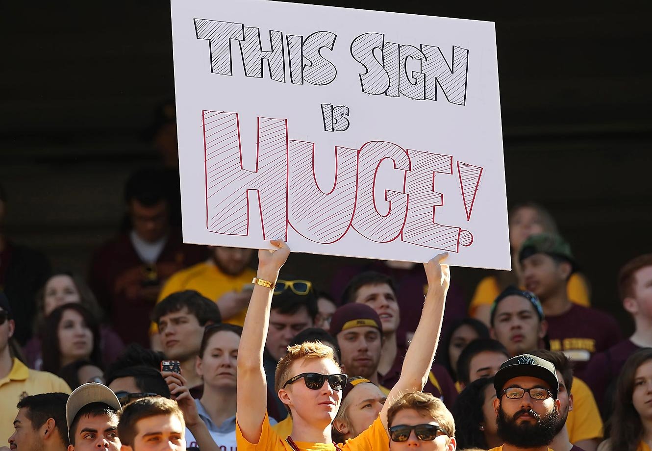 This ASU student has a big sign.
