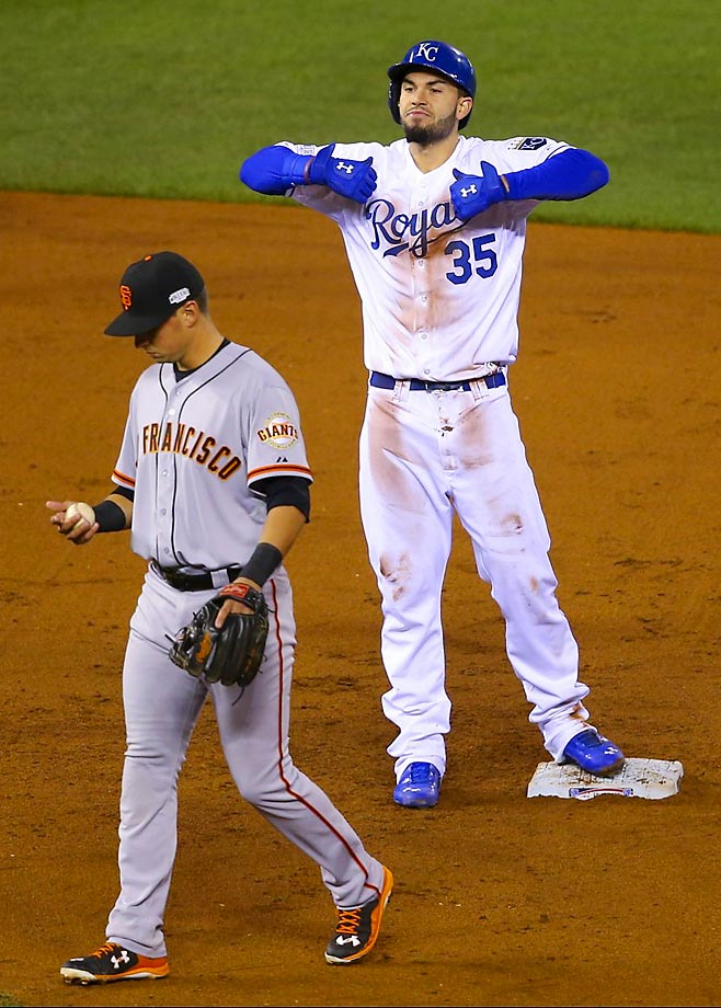 Royals first baseman Eric Hosmer celebrates after hitting a double.