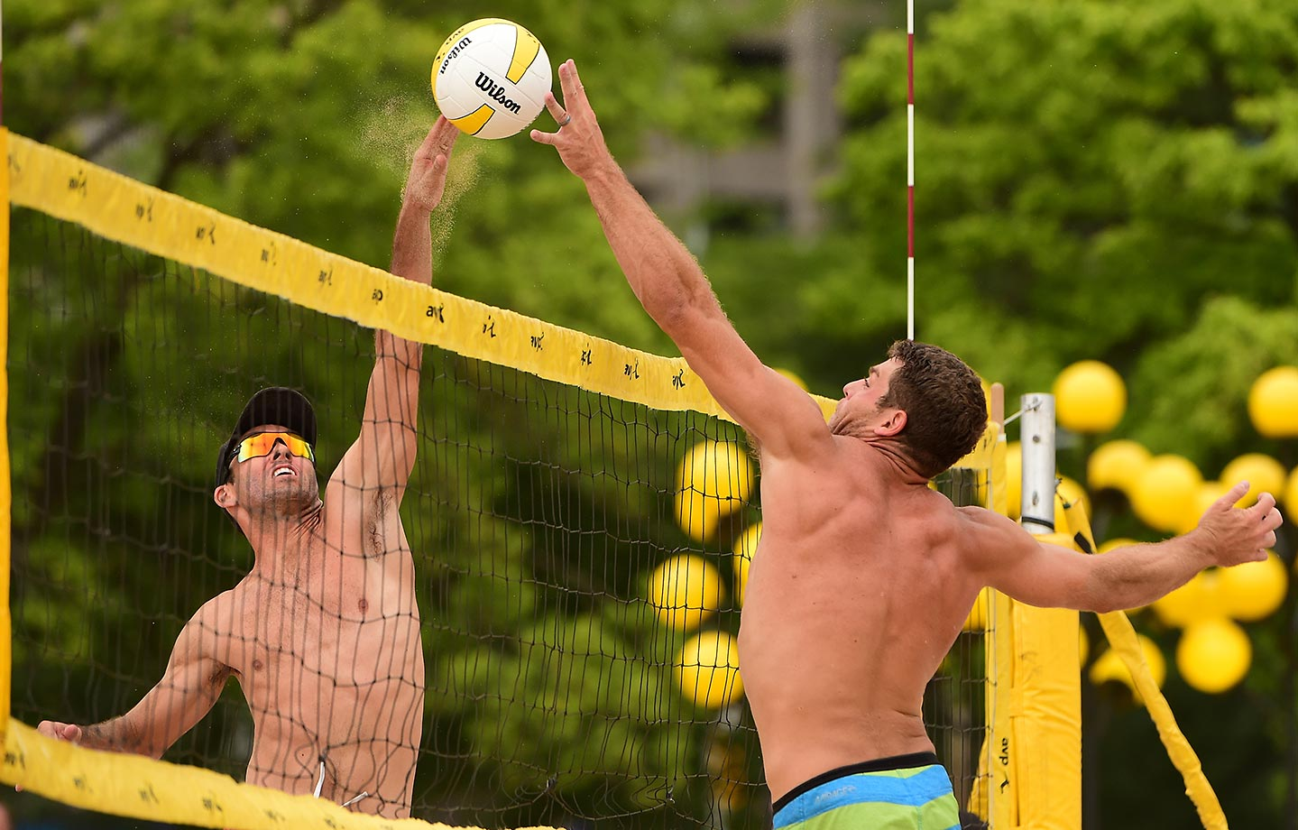 Hudson Bates (right) jousts at the net. Hudson and partner Dave McKienzie finished in a tie for fifth.