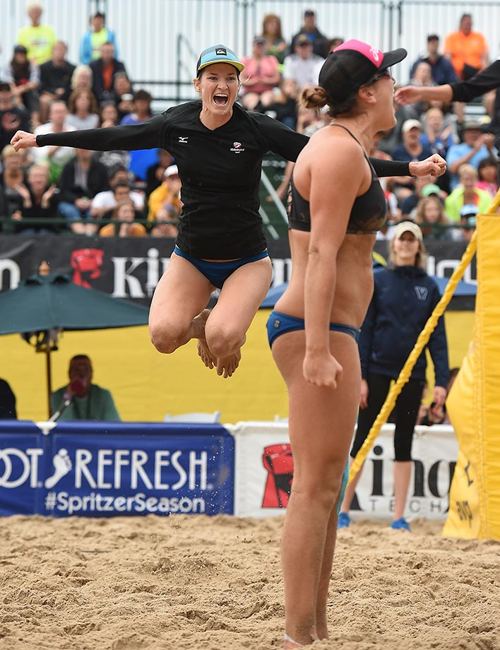 Heather McGuire jumps for joy. She and partner Amanda Dowdy took home $7k for the weekend.