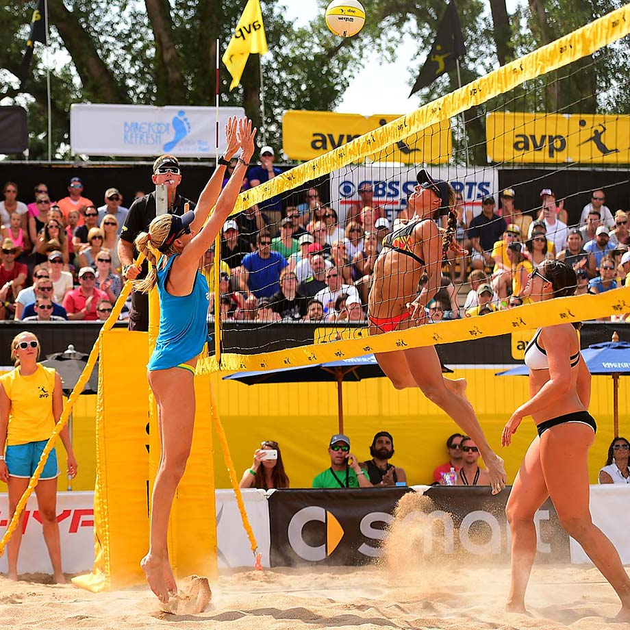Emily Stockman spikes over Kerri Walsh Jennings in the quarter finals won by Ross/Walsh Jennings 21-18 and 21-16.