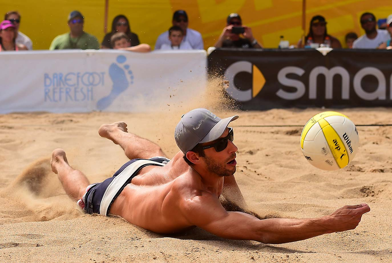 Nick Lucena lays out for one of his 80 digs for the week. He and partner Ryan Doherty finished second.