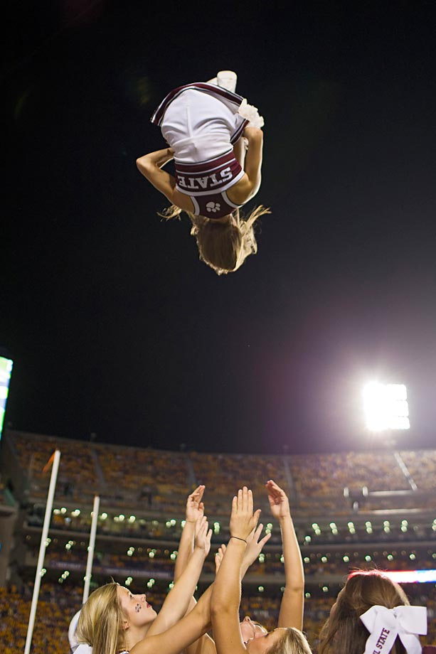 Mississippi State cheerleaders entertain the crowd during a game in Baton Rouge.