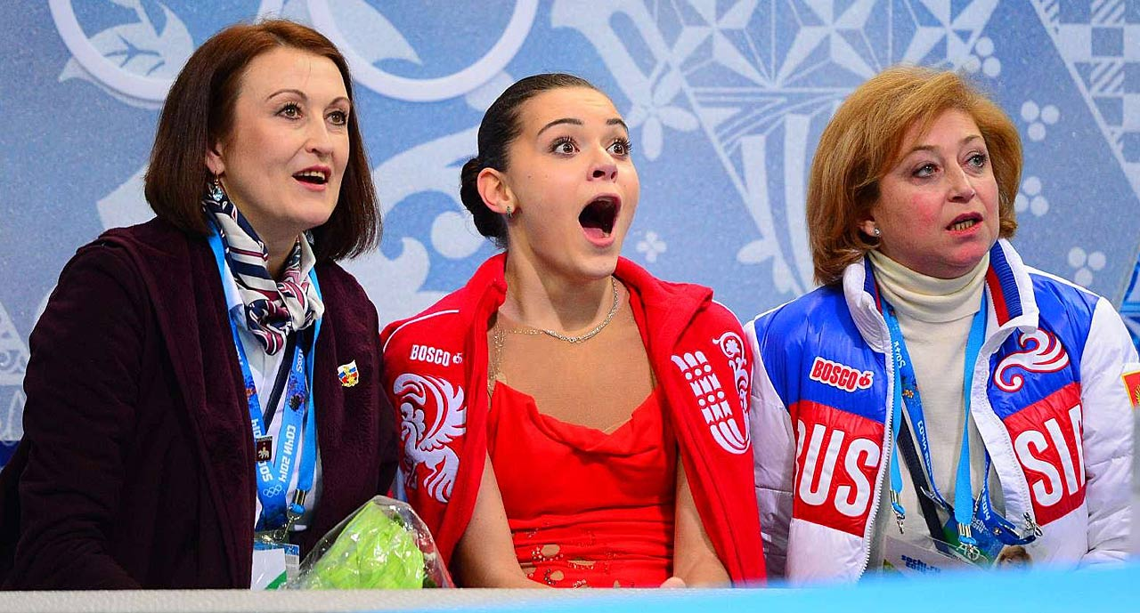 Adelina Sotnikova of Russia reacts to her scores.