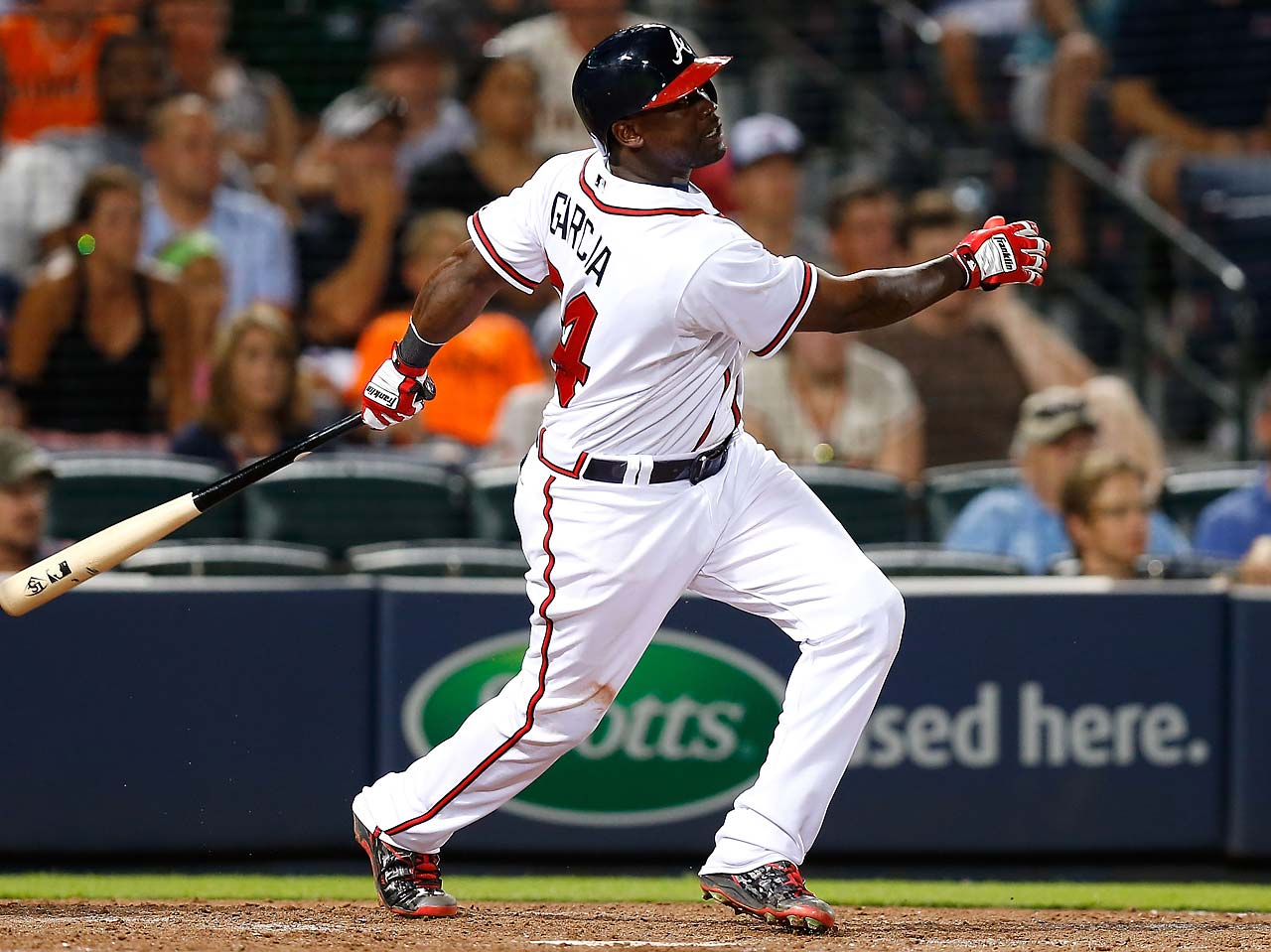 Adonis Garcia hit a two-run walk-off homer in the 12th inning to give the Atlanta Braves a 9-8 victory over the San Francisco Giants on Aug. 3.