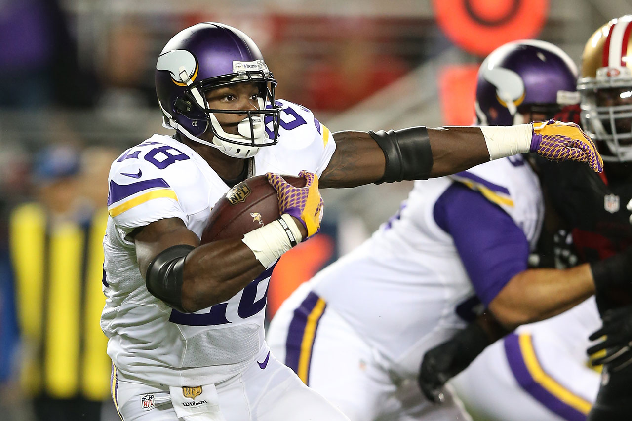 Adrian Peterson played in his first game in over a year Monday night as the Vikings lost to the San Francisco 49ers.