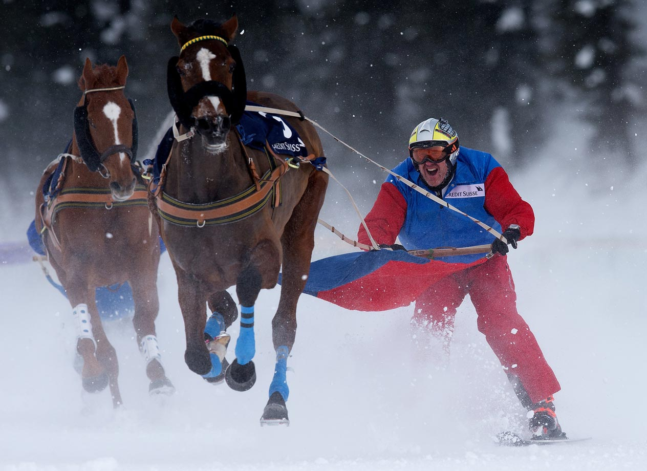 Adrian von Gunten with his horse Mombasa during the Race of the White Turf in St Moritz, Switzerland.