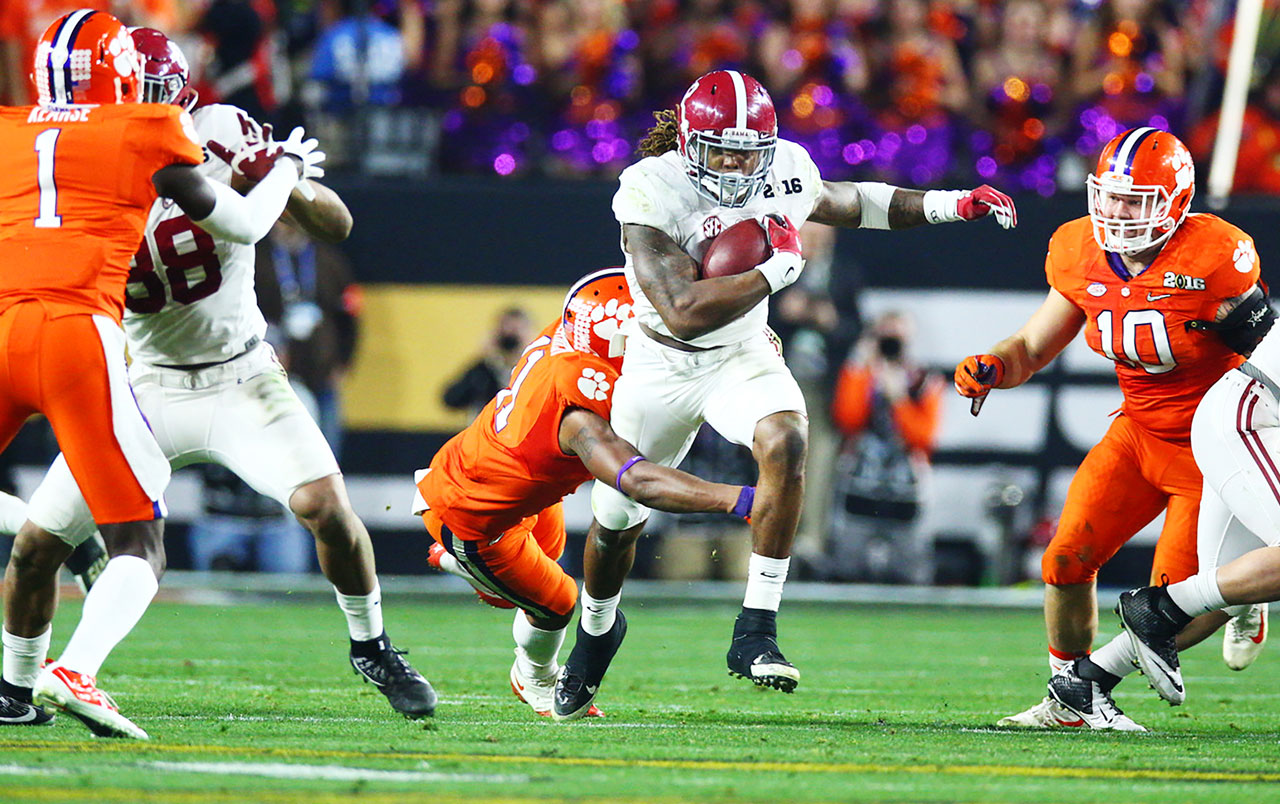Derrick Henry ran the ball 36 times for 158 yards and three touchdowns, one a 50-yard burst.