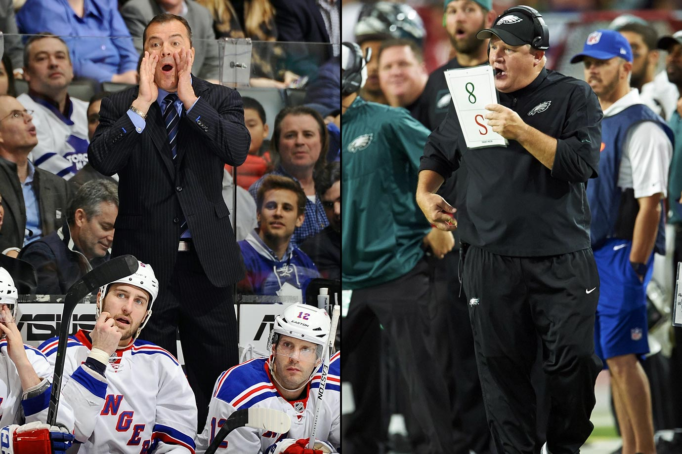 The well-off Rangers signed ex-Canucks bench boss Vigneault in June 2013 to a reported five-year, $10 million deal that was supposedly fat enough to keep him from landing with the Dallas Stars. Kelly has to be feeling pretty sunny in Philadelphia after inking his five-year, $32.5 million deal with the Eagles in January 2013.