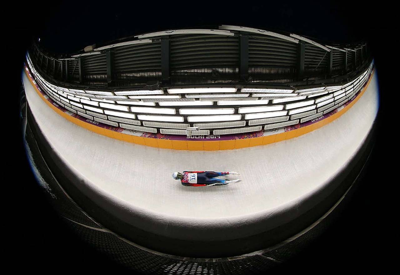 Aleksander Peretyagin of Russia during luge, men's single.