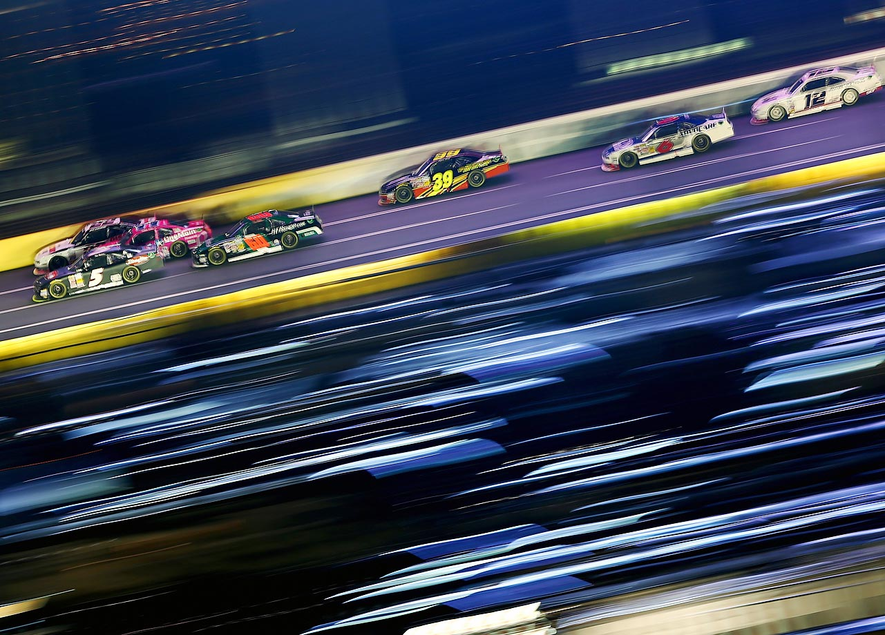 Drivers race at Charlotte Motor Speedway during the NASCAR Nationwide Series Drive for the Cure 300.