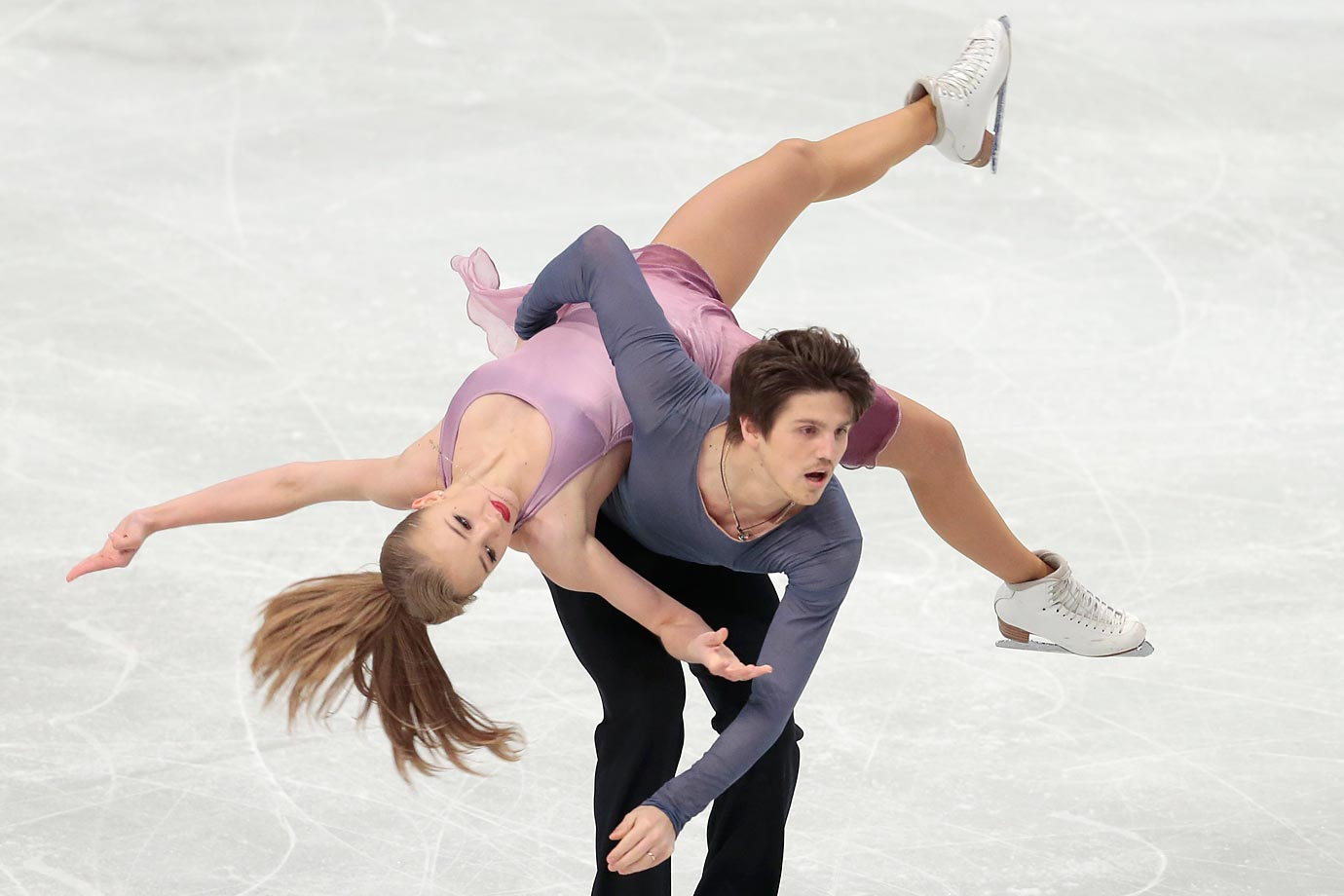 Alexandra Stepanova and Ivan Bukin of Russia during their free dance at the European Figure Skating championships in Stockholm, Sweden.