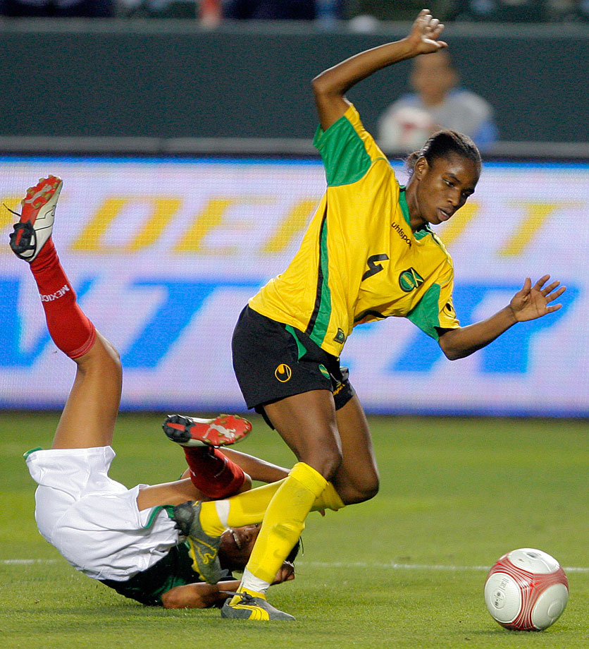Jamaica's captain is an assistant coach at University of West Florida, where she rejoined the coaching staff last year after playing professionally in Iceland and Costa Rica. The 35-year-old quit playing for the national team after its failed World Cup bid in 2006, but she returned to play in the Caribbean Cup in June and will lead her country out this month again.