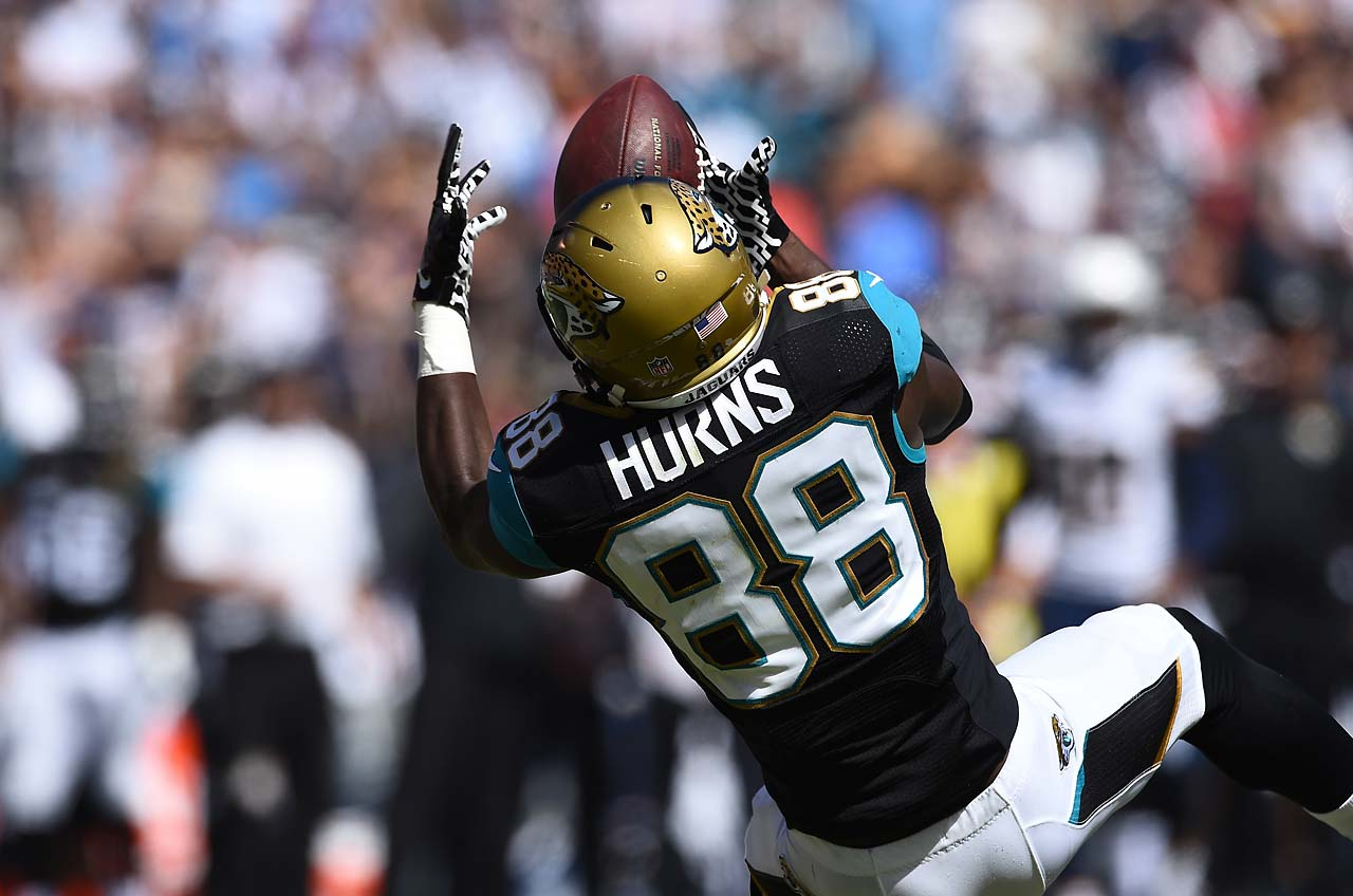 Allen Hurns keeps his concentration on this 44-yard reception, that put the ball inside the five.