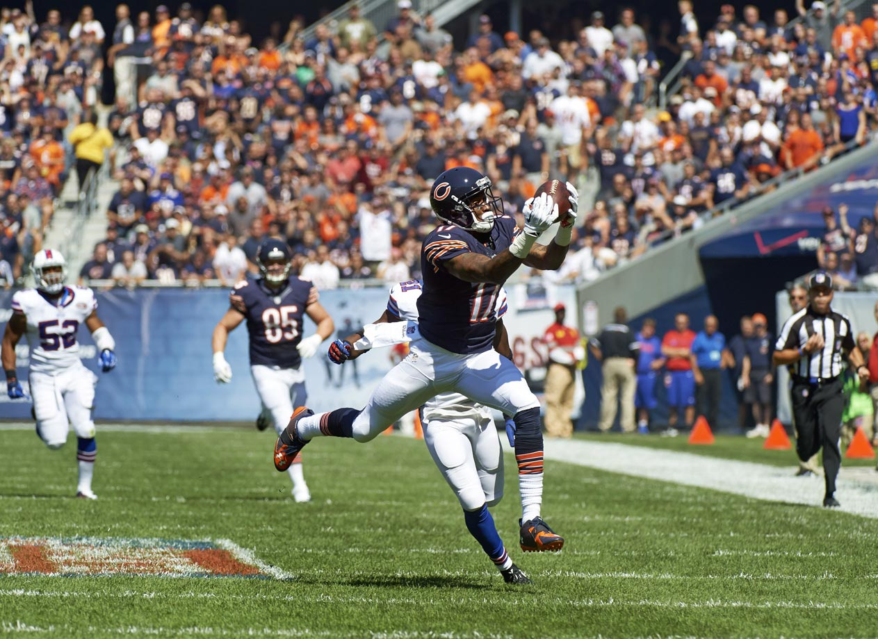 Despite the circus surrounding him in Chicago, Jeffery still had 85 catches for 1,133 yards and 10 touchdowns. Even with Brandon Marshall in town, Jeffery is the team's top receiver.