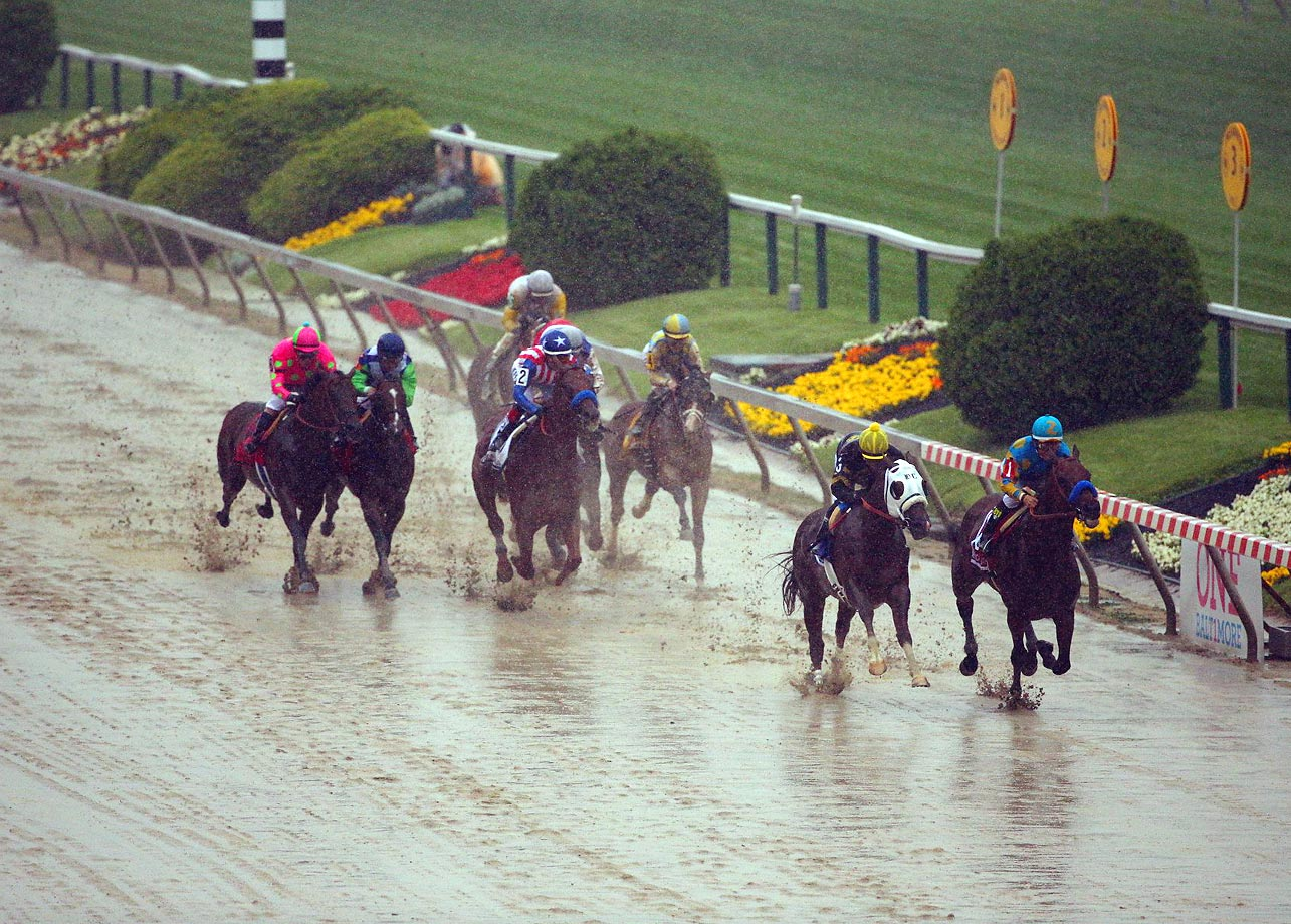 Did you see the amount of rain on Saturday at the Preakness Stakes when American Pharaoh won the second leg of the Triple Crown?