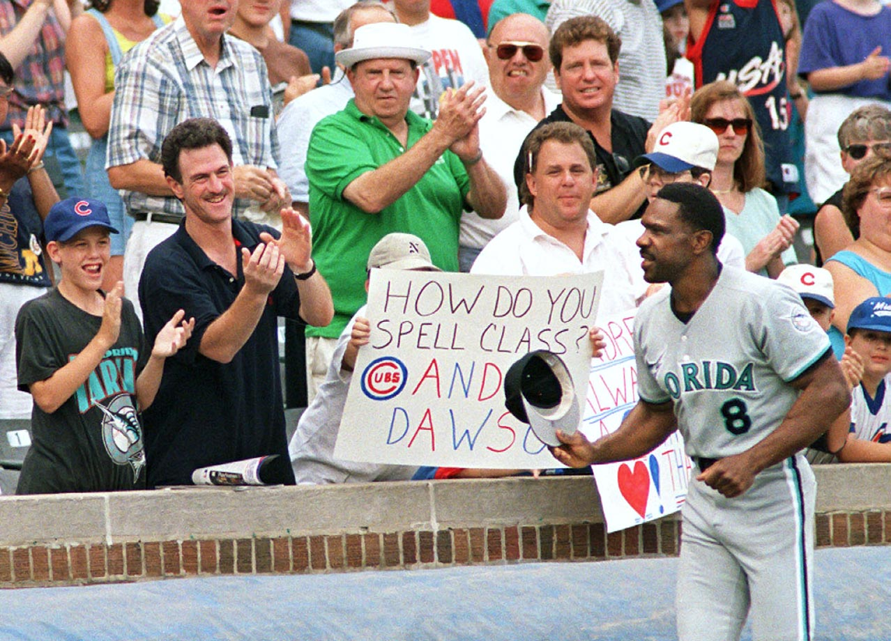After announcing his retirement during his 1996 season with the Marlins, Andre Dawson received cheers from Cubs fans upon his return to Wrigley Field late in the season.