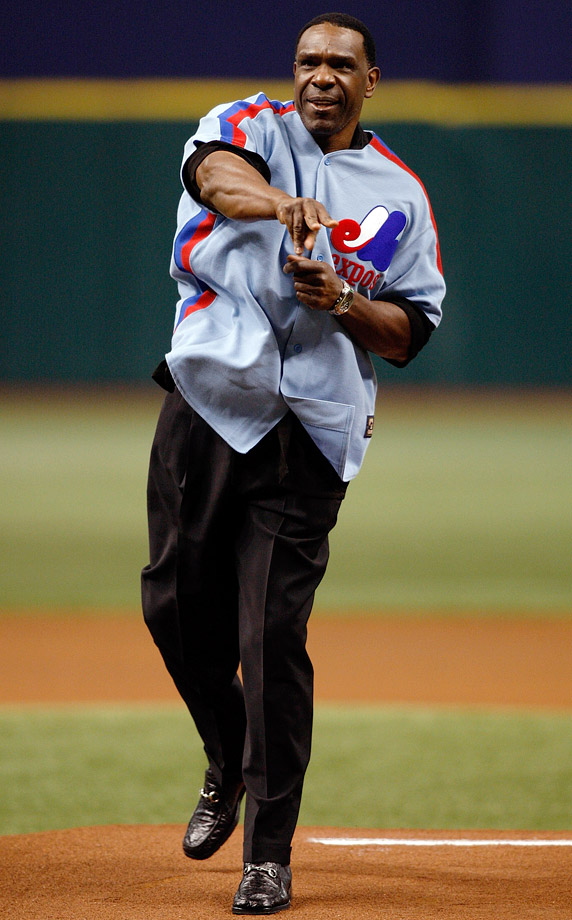 Andre Dawson donned an Expos jersey while throwing out the first pitch before a Marlins-Rays game in July 2009.