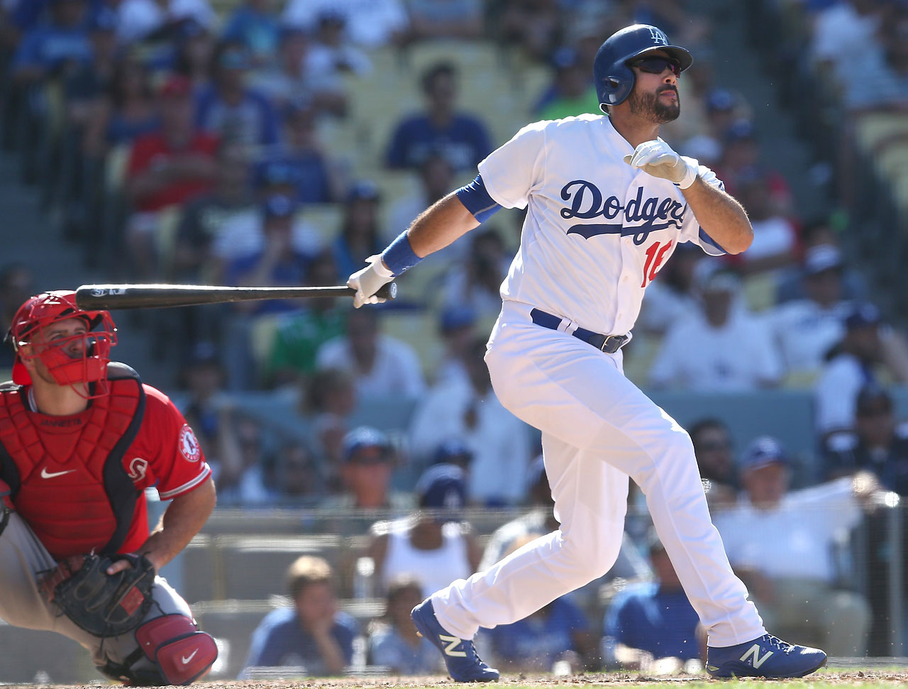 Andre Ethier watches his two-run home run leave the stadium in the 10th inning to give the Dodgers a 5-3 victory over the Angels.