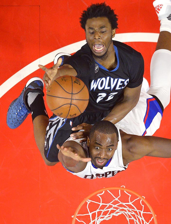 Andrew Wiggins of the Minnesota Timberwolves shoots over Luc Mbah a Moute of the Los Angeles Clippers during a 107-99 loss.