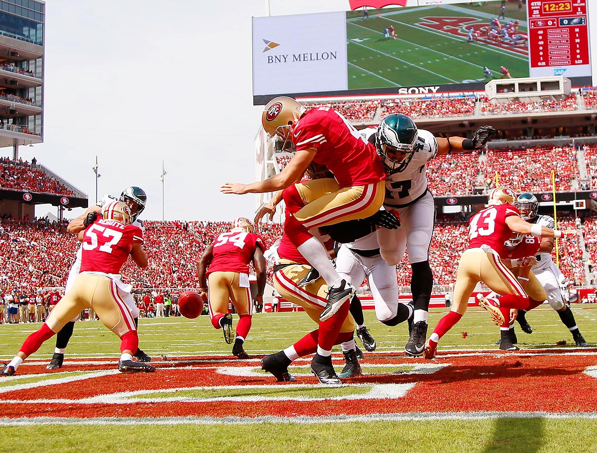 Trey Burton of the Philadelphia Eagles blocks a kick by San Francisco 49er punter Andy Lee that leads to a touchdown.
