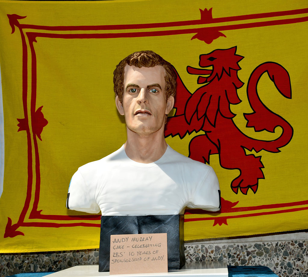 A cake bust of Wimbledon champion Andy Murray was displayed on July 8, 2013 in Dunblane, Scotland.