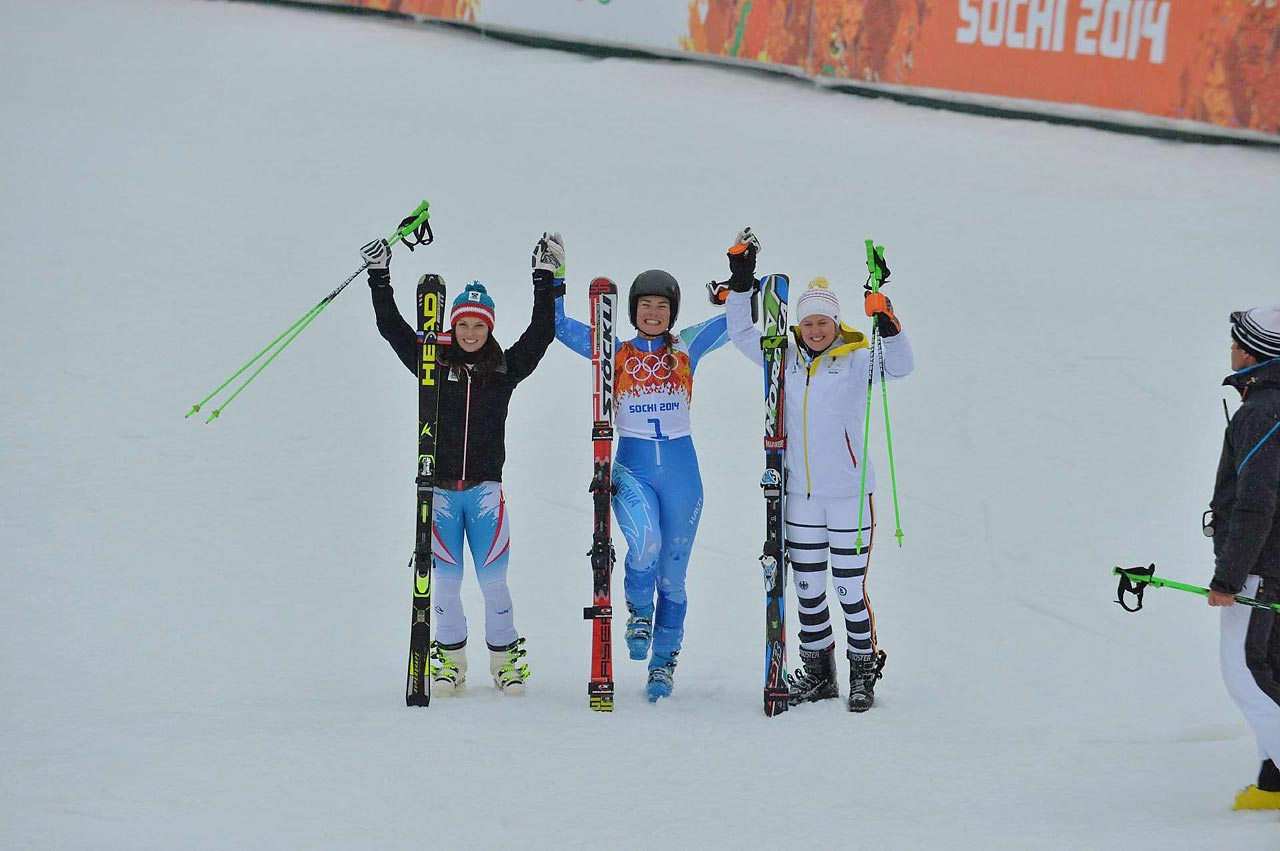 Anna Fenninger of Austria won the silver, Tina Maze won the gold and Viktoria Rebensburg of Germany won bronze.