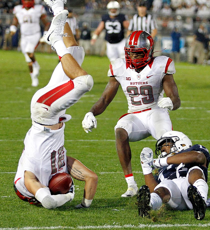 Anthony Cioffi of Rutgers intercepts a pass in the fourth quarter against Saeed Blacknall of Penn State.