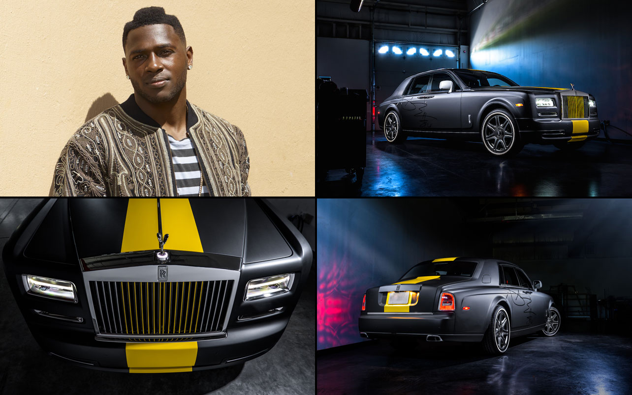 Antonio Brown showed up to the start of 2015 training camp in a custom, Steelers-themed Rolls-Royce Phantom, a car that costs around $500,000. Brown's Phantom features a yellow stripe down the center and even his signature blown up preposterously large on the side.