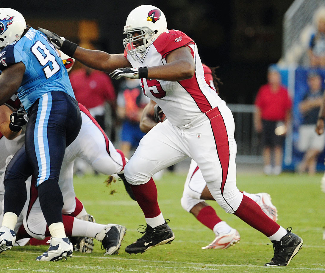 Brown was selected with the No. 5 pick in the 2007 draft, known to be a powerful road-grading blocker, but not a smooth pass-protector. When Brown hit the field for the Cardinals, he was a turnstile from the word go, and things didn't get much better. He allowed eight sacks in his rookie season, 11 in his second, nine in his third, 10 in his fourth... you get the picture. And this was when the Cardinals had Kurt Warner as their quarterback, with a quick-step, quick-release passing game. Brown did eventually play some quality football, and the Cardinals re-signed him in 2012 after first releasing him to save salary cap space. But he suffered a torn triceps that year, and allowed three sacks in the first week of the 2013 season. He was traded to the Steelers in Oct. 2013 and released by Pittsburgh before the '14 season.