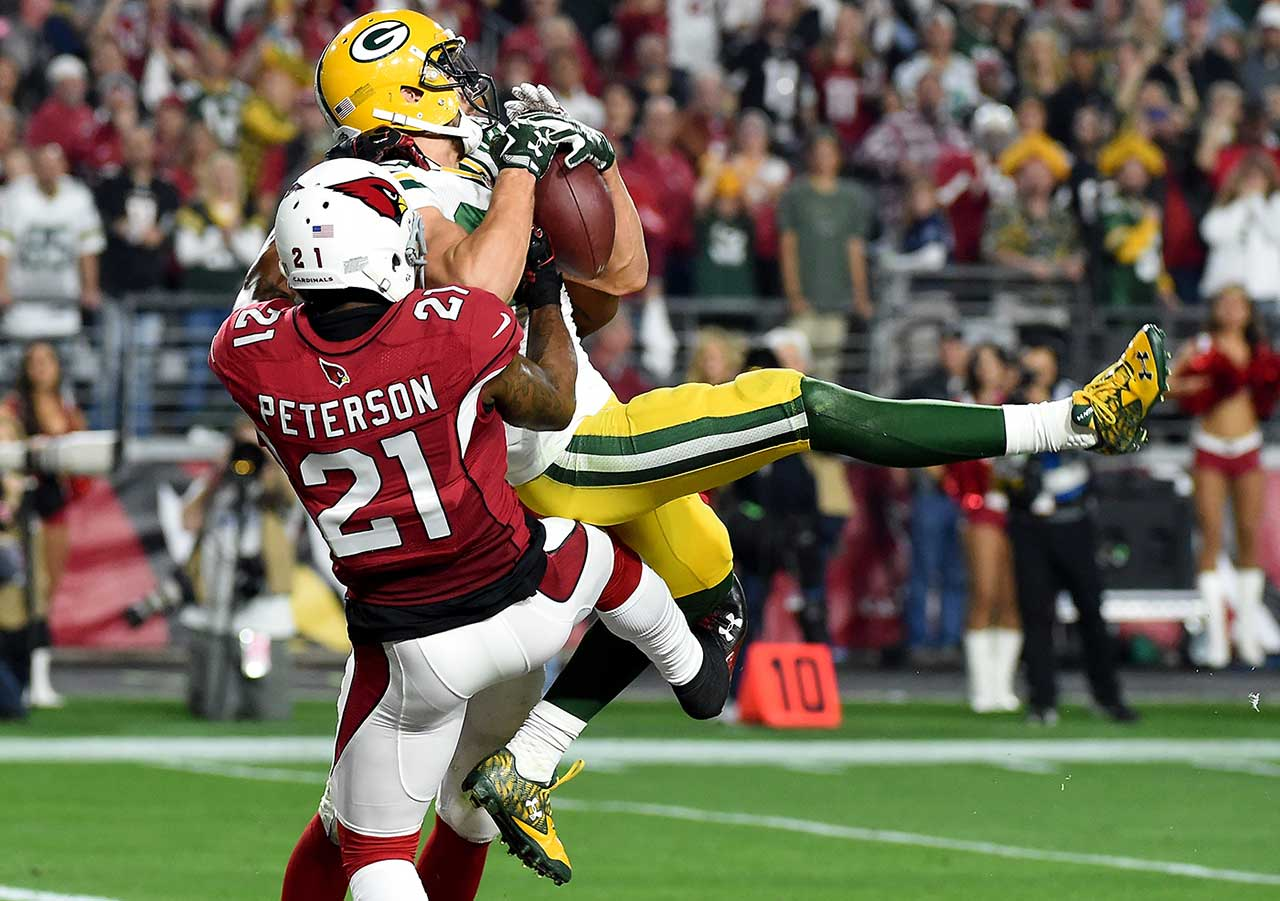 Jeff Janis outjumped defenders Patrick Peterson and Rashad Johnson for the 41-yard scoring catch.