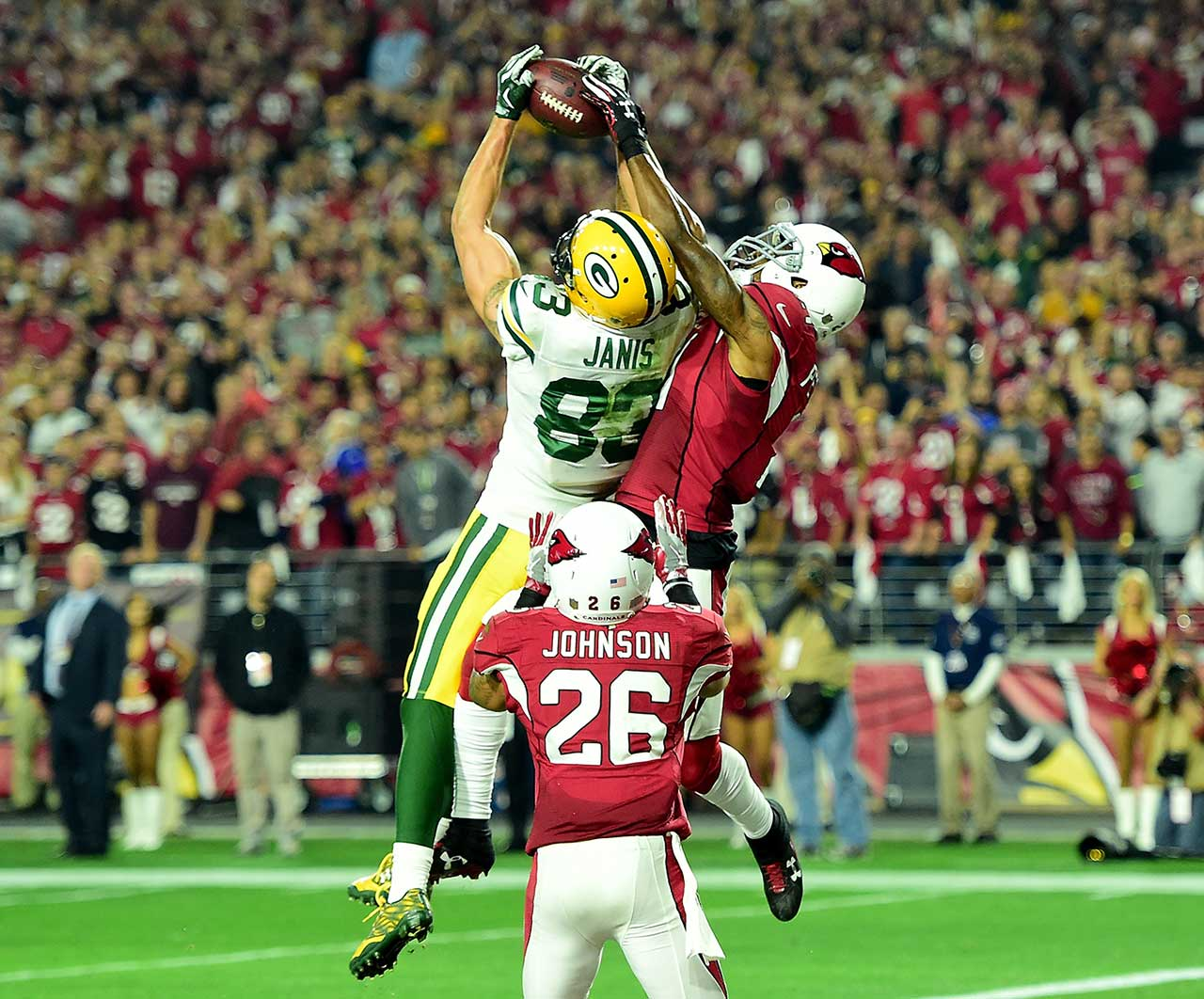 Before Larry Fitzgerald became the hero in overtime, Jeff Janis had etched his name into Green Bay lore with this 41-yard Hail Mary touchdown in the final seconds of regulation to give Green Bay new life.
