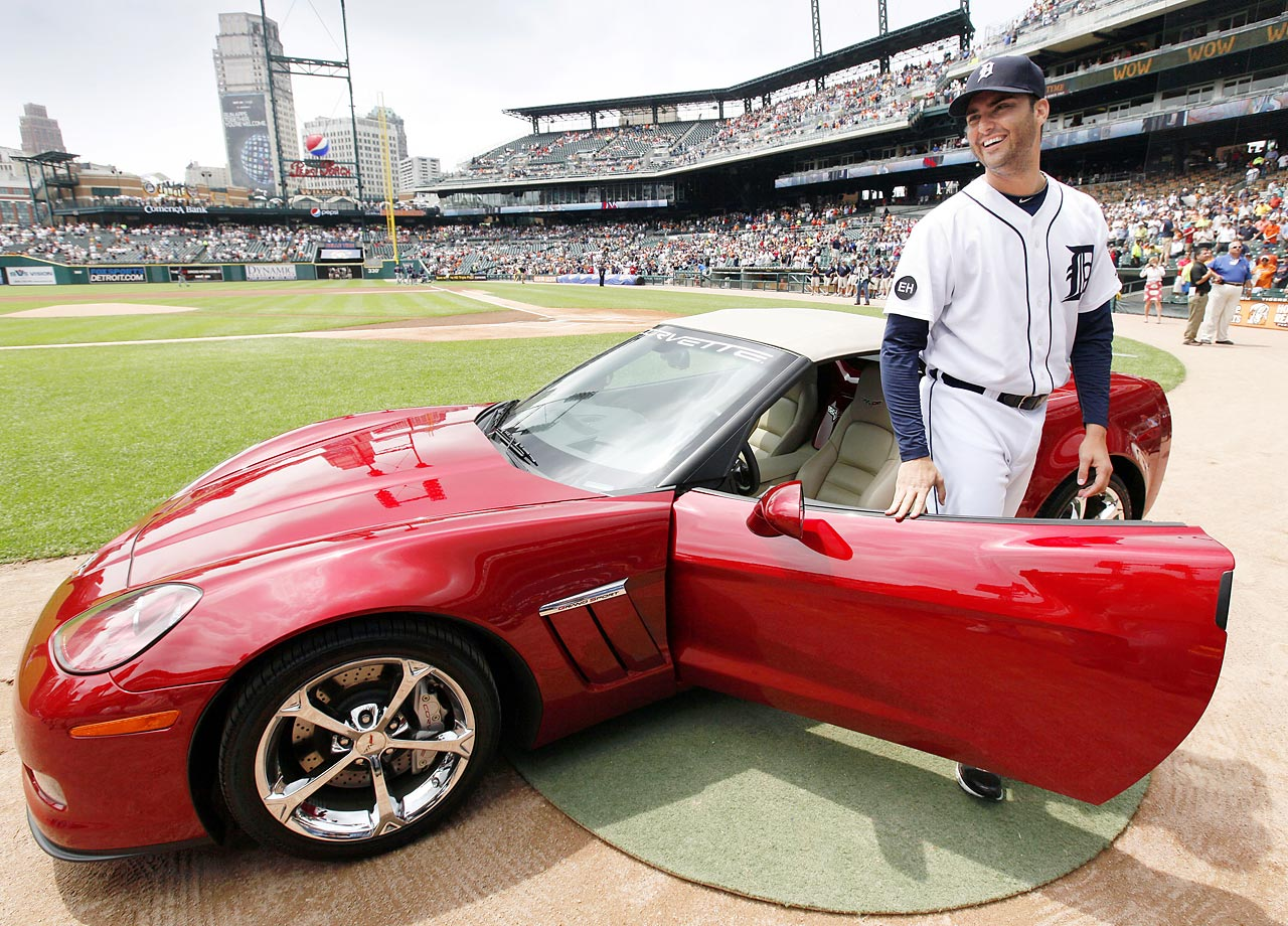 Armando Galarraga was presented with this Chevrolet Corvette on June 3, 2010, the day after he lost a perfect game with two outs in the ninth inning on a controversial call at first base.