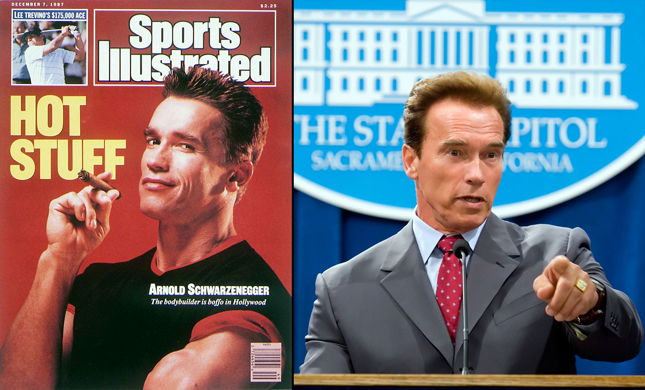 "Schwarzenegger got our attention as a bodybuilder, proclaimed ""I'll be back"" in The Terminator, and proved to be an astute politician, winning the governorship of California first in 2003 and again in 2006."