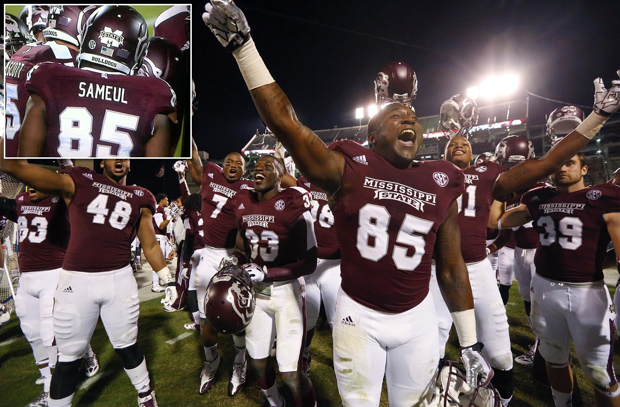 Mississippi State tight end Artimas Samuel celebrated his teams' 28-22 win over Kentucky after his first college game on Oct. 24, 2013, but the 6'2, 260-pound freshman could not have been too pleased with his last name being misspelled as 'Sameul' on his jersey for the nationally televised game.