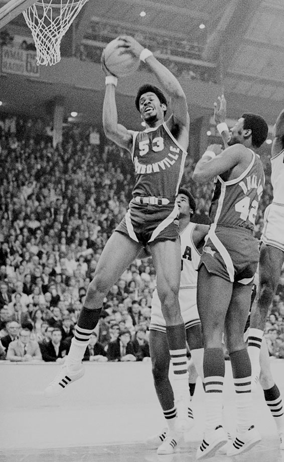 The top rebounder in NCAA history, Gilmore is one of just five players to average 20 points and 20 rebounds in his career. After spending his first two years at Gardner-Webb Junior College, Gilmore arrived at Jacksonville to lead the Dophins to the 1970 national championship game. Gilmore scored 24 points and grabbed 20 rebounds a Sweet 16 win over Kentucky and had 29 points and 21 rebounds in a Final Four victory over St. Bonaventure.