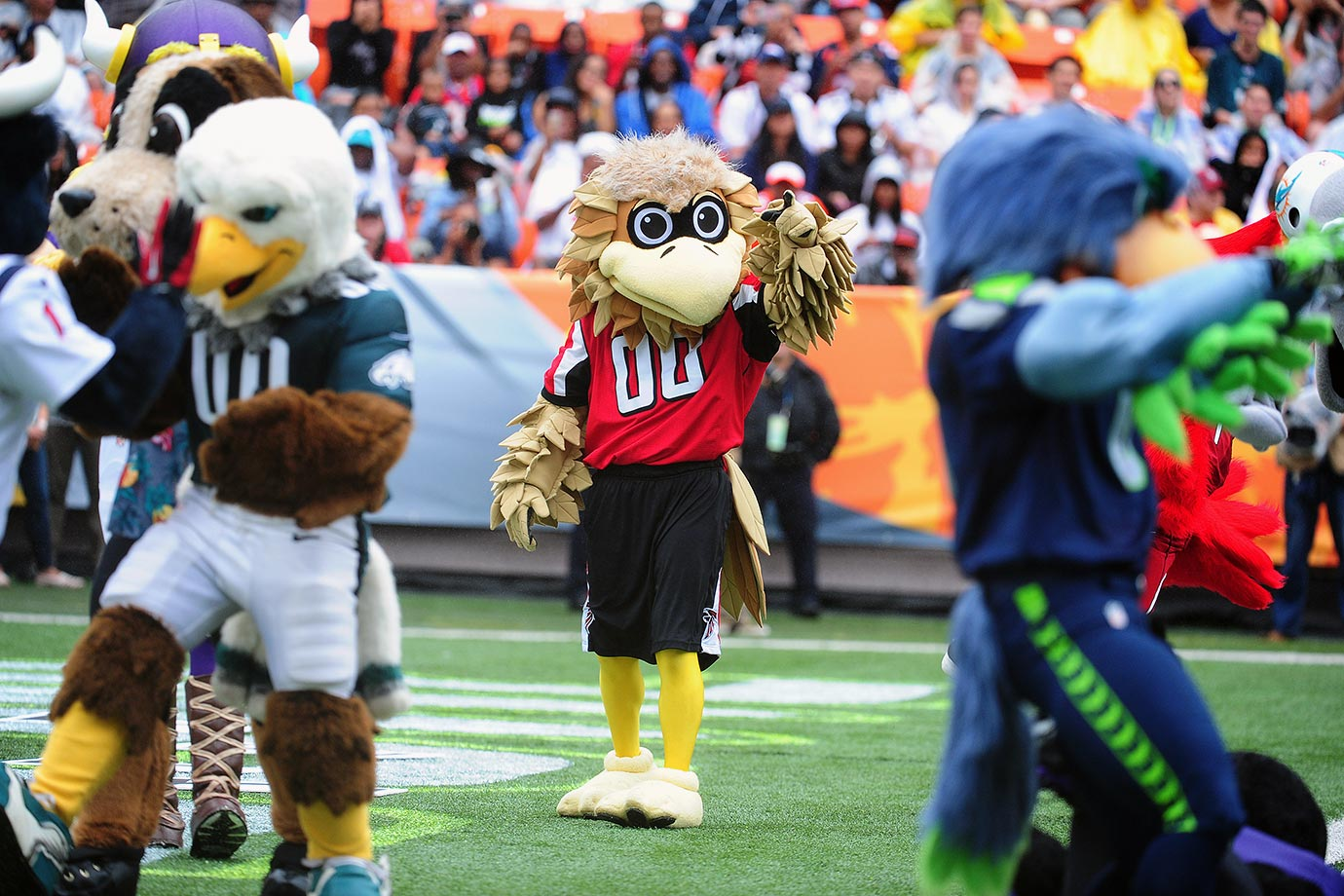 "Obviously, years of bad defensive play by his NFL team has caused Freddie to abuse anti-depressants. His pie-eyed half-smile makes other mascots cautiously ask him, ""Heyyy, Freddie ... How you holdin' up?"""