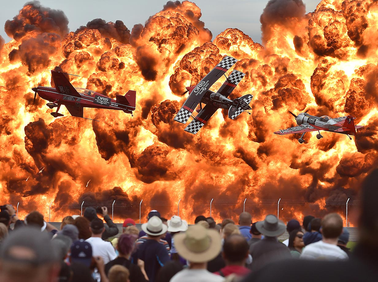 Acrobatic pilots perform at the Australian International Airshow.