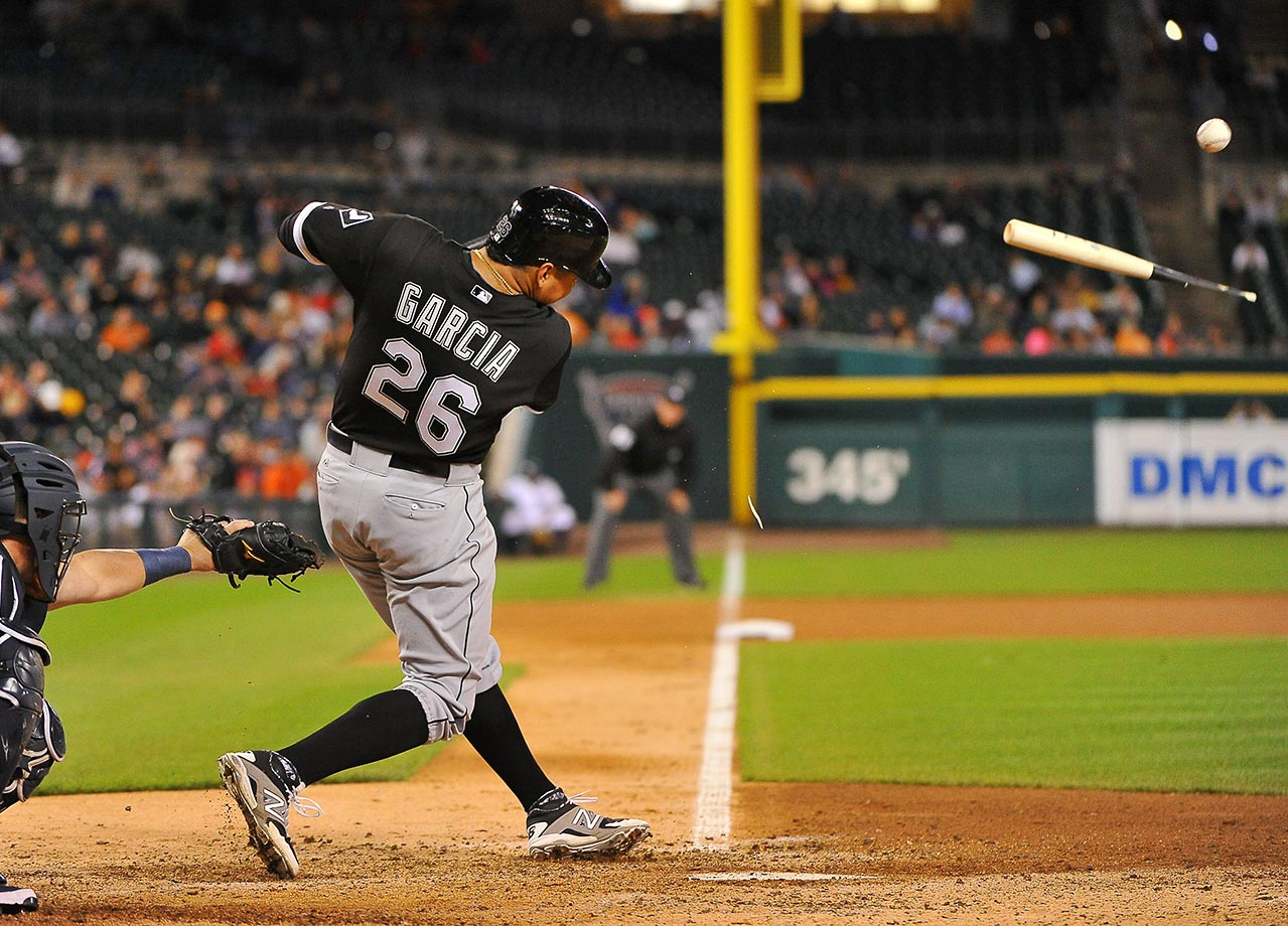 Avisail Garcia of the Chicago White Sox breaks his bat in a game against the  Detroit Tigers.
